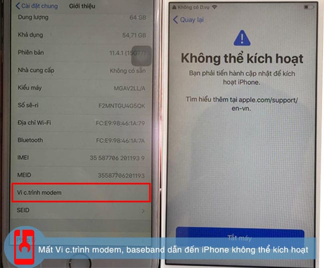 Mất Vi C.trình Modem, Mất Baseband Dẫn đến Iphone Không Thể Kích Hoạt