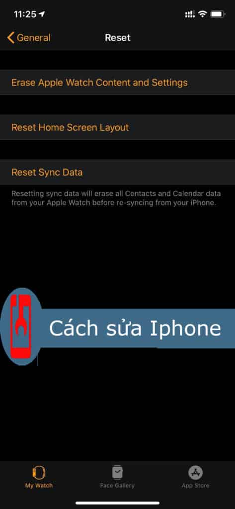 Reset Apple Watch bằng Iphone