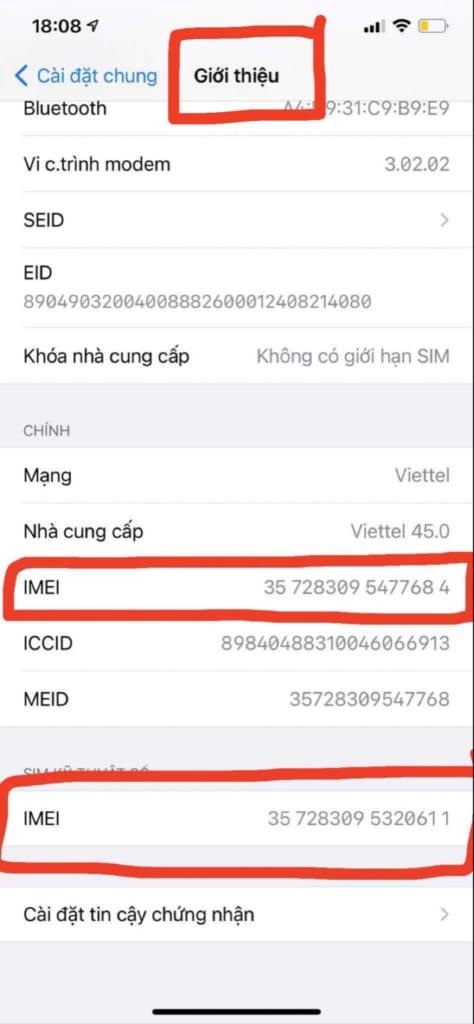 imei iphone lock gửi đi để xử lý trước khi thêm add esim